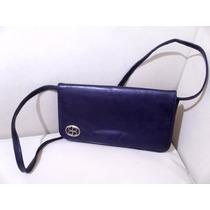 Carterita De Cuero Vintage Azul Marino Con Mercado Envios