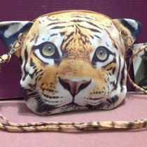 Hermosa Cartera Colgante Cara De Tigre Importada!