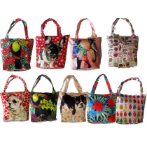 Bolso Cartera Estampada Perro Perrito Flores Pack X 6 Mayor