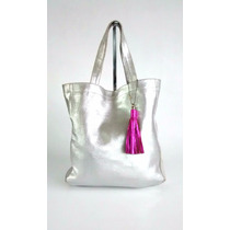 Cartera Cuero Glitter Desgastado Shopping Bag Plateado