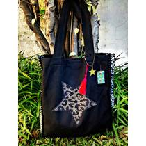 Bolso Tela Negro Con Estrella