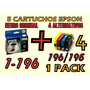 Cartucho Epson 196 Neg Ori T196120 + 4 196/195 Alternativos