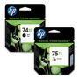 Cartucho Hp 74xl + 75xl Combo Negro + Color Originales + Gta