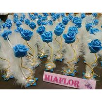 75 Souvenirs Casamiento Rosas Con Pluma Porcelana Fria