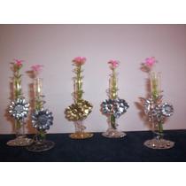 Violeteros De Metal Con Vidrio Paquete Por 10 Unidades