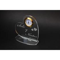 Souvenir De Boda Acrilico Con Reloj, Con Tus Datos Grabados