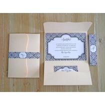 Tarjeta Invitacion Sobre Perlado Casamiento 15años Moño Raso