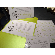 40 Invitaciones Tarjetas De Casamiento, Casamiento Tríptico