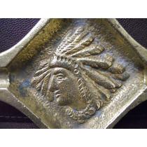 Antiguo Cenicero De Bronce Con Relieve De Indio Años 60