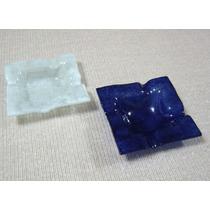 Lote De Ceniceros De Vidrio. Color Azul, Blanco Y Multicolor
