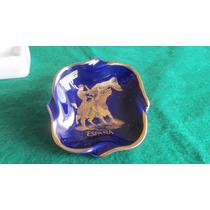 Cenicero Ceramica Azul Cobalto Y Oro