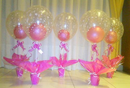como se hacen centros de mesa con globos imagui