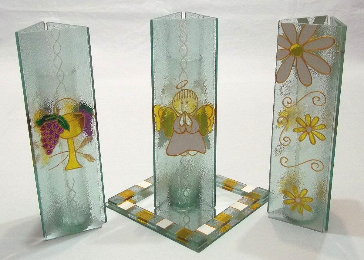 Centros mesa floreros vidrio pintado base espejo picture for Mesa vidrio