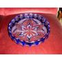 Centro De Mesa O Frutera Antigua De Cristal Tallado Azul