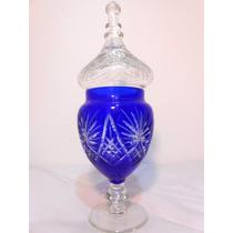 Potiche Azul Y Neutro Cristal Encamisado Importante Talla