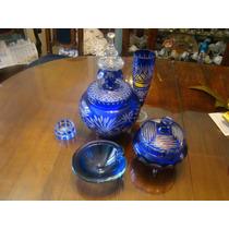 Copa Potiche Cenicero Cristal Azul Checolovaco