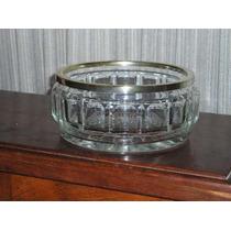975- Centro De Mesa Frutera Cristal Tallado Con Virola