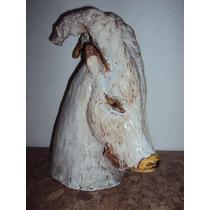 Antigua Escultura De Cerámica Cabeza De Chivo Esmaltada