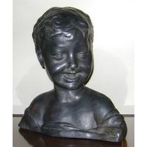 Terracotta Italiana Escultura Busto Figura De Niño