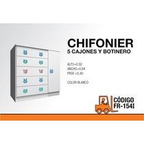 Chifonier Infantil Fr-154-i Con 5 Cajones Y Botinero Blanco