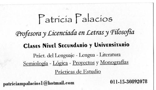 Clases Lengua, Filosofía, Semiología, Lógica. Extranjeros