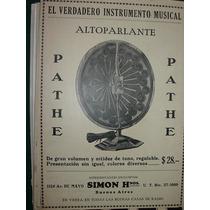 Clipping Antiguo Publicidad Alto Parlantes Pathe Simon Bsas