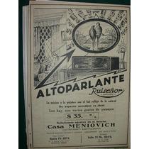Clipping Antiguo Publicidad Alto Parlantes Ruiseñor Radio
