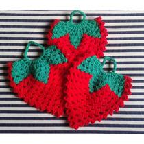 Tejidos Crochet: Agarraderas - Posapavas (frutilla - Sandia)