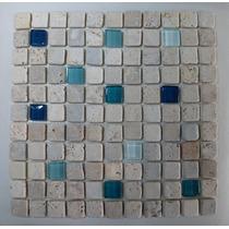 Venecita Guardas Mosaicos Combinada Vidrio Travertino Stock