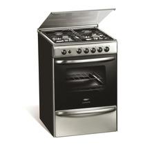 Cocina A Gas Longvie 18600xf Inox Con Tapa De Vidrio 60 Cm