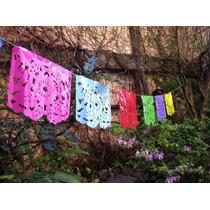 Banderín Mexicano/ Guirnalda Plástico/ Calada A Mano
