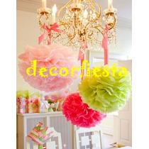 Pompones Globos Flores De Papel De Seda 32 Cm De Diametro
