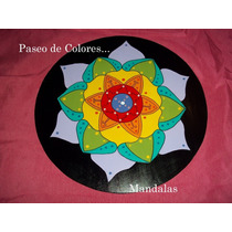 Mandalas Decorativos Pintados A Mano En Madera