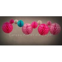 5 Esferas Panal De Abeja Balon 22cm Guirnaldas Papel Adornos
