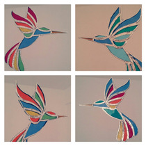 Pájaro Colibrí Colgante De Vitraux