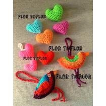 Pack X 4 Corazones Medianos Super Gorditos Tejidos A Crochet