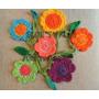 Guirnalda De Flores Y Hojas Tejidas Al Crochet Únicas En M L
