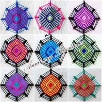 X10un Souvenirs Atrapasueños Mandalas Tejidos Tricolor 18cm