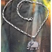 Collar Con Dije Elefante Acero Quirurgico