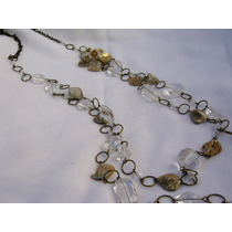 Elegantísimo Collar En Caireles, Cadena Y Flor De Nácar Biju