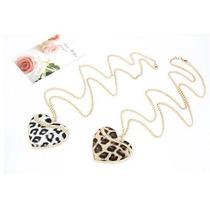 Hermoso Collar Con Corazón Animal Print Y Brillos