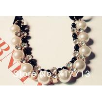 Hermoso Collar Con Perlas Y Brillos