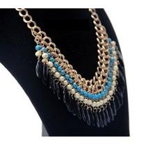 Hermoso Collar Vintage Dorado Escalonado