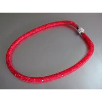 Collar Stardust Cristales Swarovsky, Cierre Iman, Color Rojo