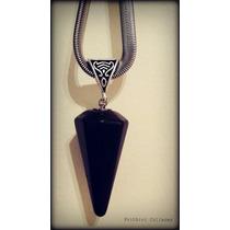 Péndulo Obsidiana En Cadena De Acero Quirúrgico
