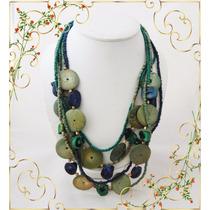 Collar Etnico 5 Vueltas Gamas De Celestes Y Azules