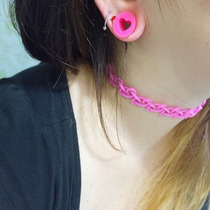 Gargantilla Tattoo Choker Super Gruesa!. Rosa Chicle