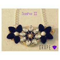 Collar Combinado Negro Y Cristal, Modelo Sasha 2