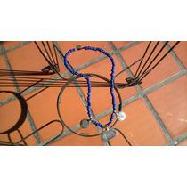 Collar De Pieras Azules Con Dijes Grabados