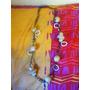 Collar Artesanal En Madera Y Perlitas Y Decoraciones Rosas